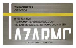 Silver Metal Business Card with cut out